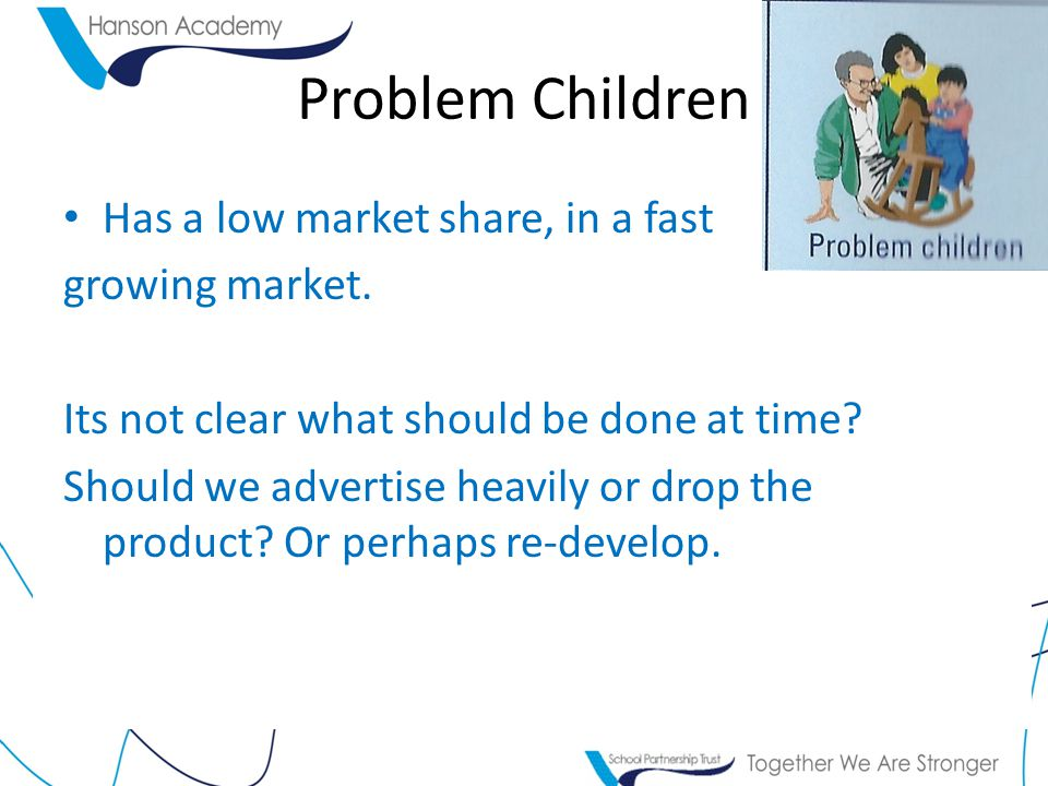 Problem Children Has a low market share, in a fast growing market. Its not clear what should be done at time? Should we advertise heavily or drop the
