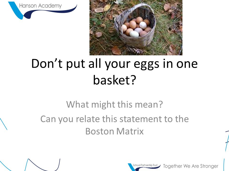 Don't put all your eggs in one basket. What might this mean.