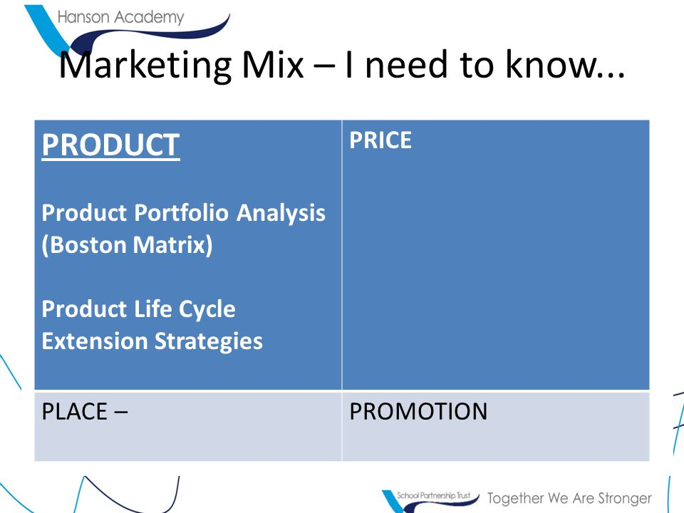 Marketing Mix – I need to know... PRODUCT Product Portfolio Analysis (Boston Matrix) Product Life Cycle Extension Strategies PRICE PLACE –PROMOTION