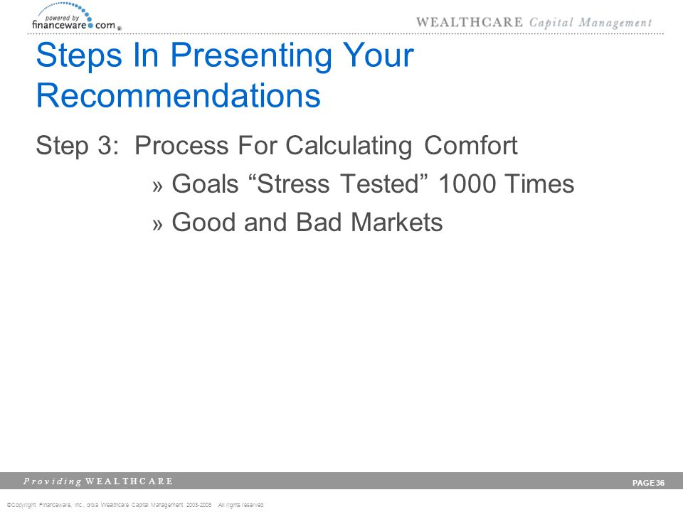 ©Copyright Financeware, Inc., d/b/a Wealthcare Capital Management 2003-2008 All rights reserved P r o v i d i n g W E A L T H C A R E PAGE 36 Steps In Presenting Your Recommendations Step 3: Process For Calculating Comfort » Goals Stress Tested 1000 Times » Good and Bad Markets