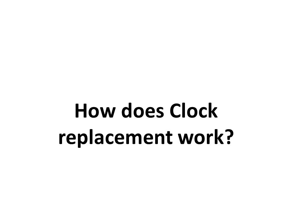 Clock Replacement Illustration Max page table size 4 Invariant: point at oldest page –Page B arrives B u:0