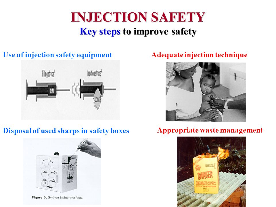 INJECTION SAFETY Key steps to improve safety Use of injection safety equipmentAdequate injection technique Disposal of used sharps in safety boxes Appropriate waste management