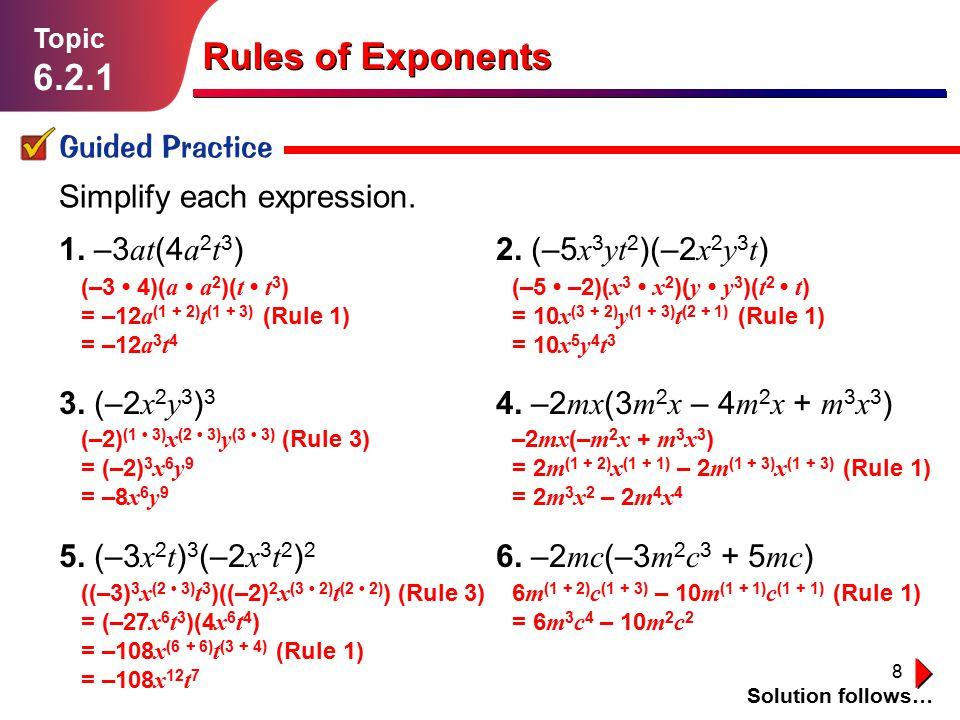 9 Simplify each expression.