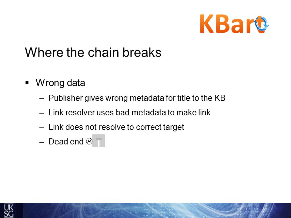 Where the chain breaks  Wrong data –Publisher gives wrong metadata for title to the KB –Link resolver uses bad metadata to make link –Link does not resolve to correct target –Dead end 