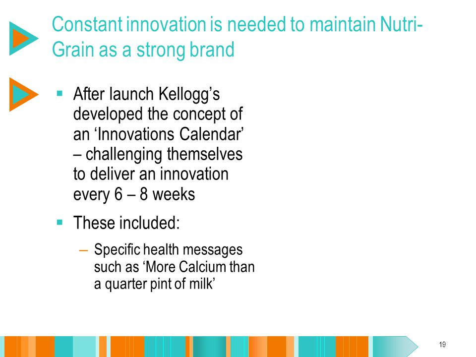 19 Constant innovation is needed to maintain Nutri- Grain as a strong brand  After launch Kellogg's developed the concept of an 'Innovations Calendar