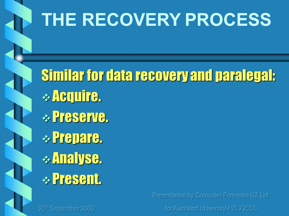 Presentation by Computer Forensics NZ Ltd for Auckland University 415.725SC Similar for data recovery and paralegal:  Acquire.  Preserve.  Prepare.