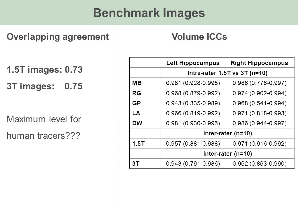Benchmark Images Overlapping agreement Volume ICCs 1.5T images: 0.73 3T images: 0.75 Maximum level for human tracers??.