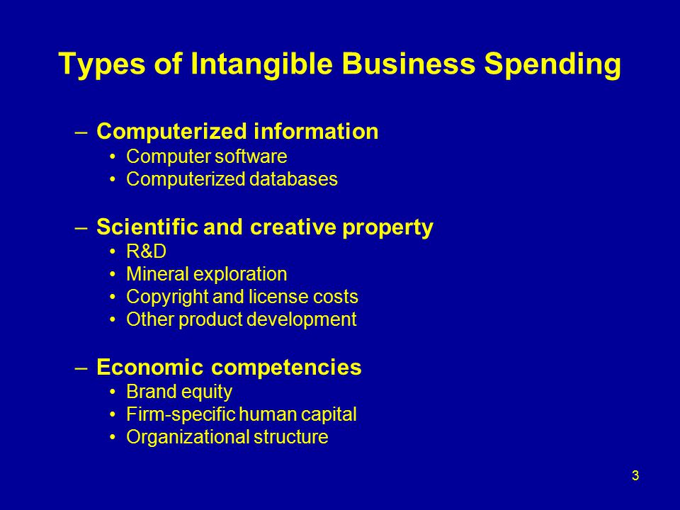 3 Types of Intangible Business Spending –Computerized information Computer software Computerized databases –Scientific and creative property R&D Mineral exploration Copyright and license costs Other product development –Economic competencies Brand equity Firm-specific human capital Organizational structure