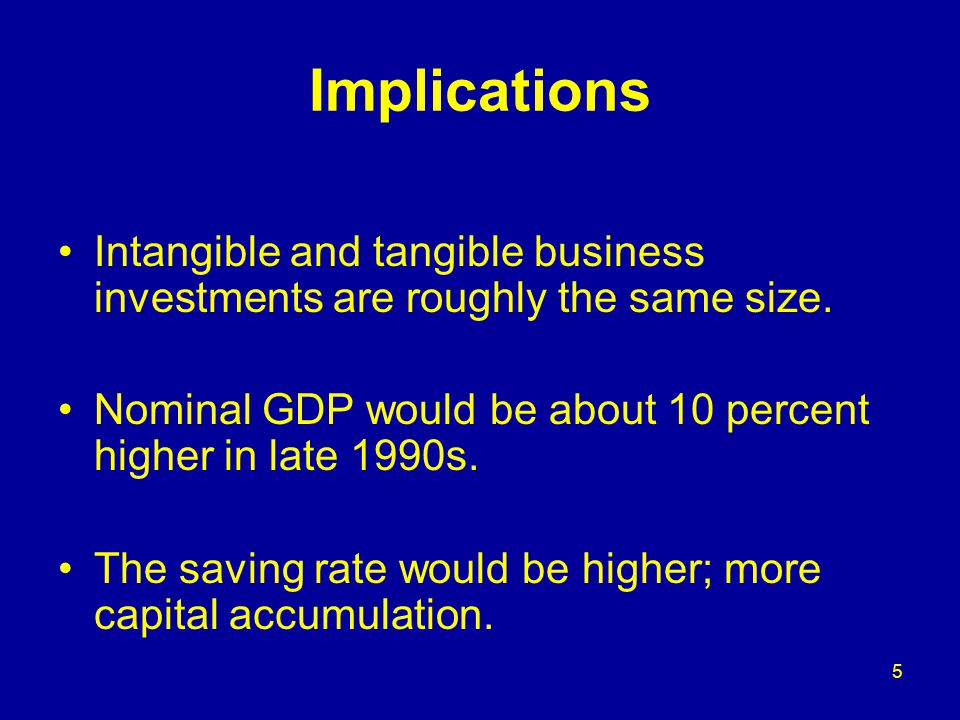 5 Implications Intangible and tangible business investments are roughly the same size.