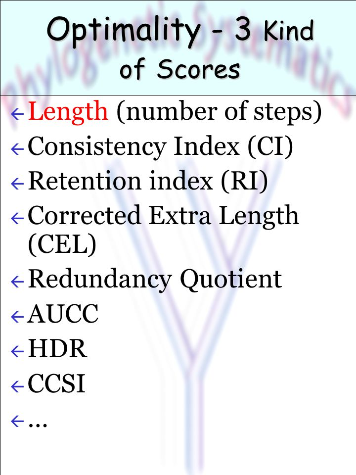 Optimality - 3 Kind of Scores ß Length (number of steps) ß Consistency Index (CI) ß Retention index (RI) ß Corrected Extra Length (CEL) ß Redundancy Quotient ß AUCC ß HDR ß CCSI ß…ß…