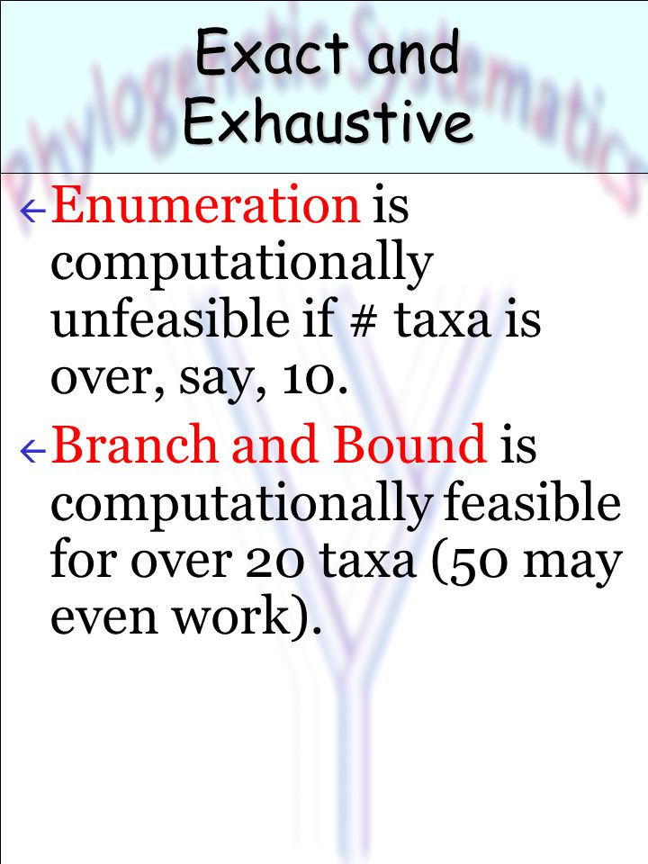 Exact and Exhaustive ß Enumeration is computationally unfeasible if # taxa is over, say, 10.