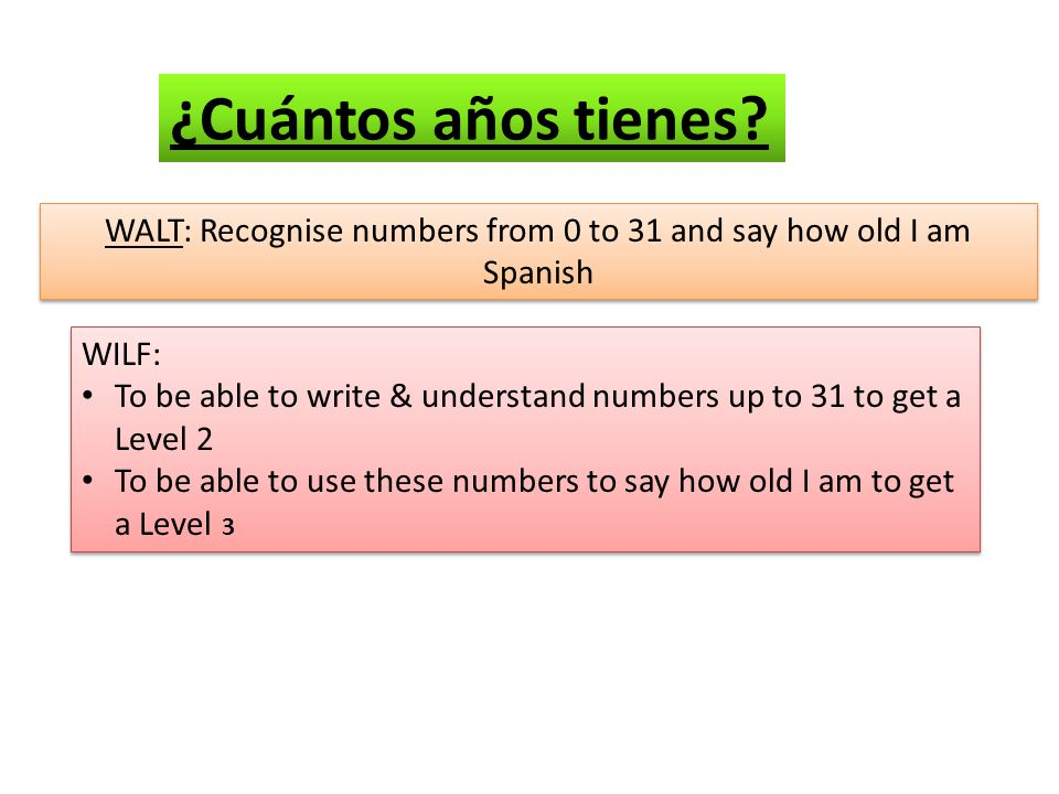 WALT: Recognise numbers from 0 to 31 and say how old I am Spanish WILF: To be able to write & understand numbers up to 31 to get a Level 2 To be able to use these numbers to say how old I am to get a Level 3 WILF: To be able to write & understand numbers up to 31 to get a Level 2 To be able to use these numbers to say how old I am to get a Level 3 ¿Cuántos años tienes