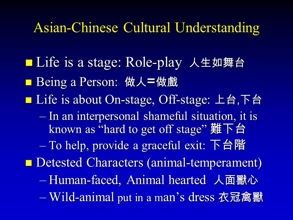 Asian-Chinese Cultural Understanding Life is a stage: Role-play 人生如舞台 Being a Person: 做人=做戲 Life is about On-stage, Off-stage: 上台,下台 –I–I–I–In an interpersonal shameful situation, it is known as hard to get off stage 難下台 –T–T–T–To help, provide a graceful exit: 下台階 Detested Characters (animal-temperament) –H–H–H–Human-faced, Animal hearted 人 人 人 人面獸心 –W–W–W–Wild-animal put in a man's dress 衣冠禽獸