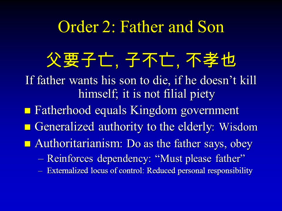 Order 2: Father and Son 父要子亡, 父要子亡, 子不亡, 子不亡, 不孝也 If father wants his son to die, if he doesn't kill himself; it is not filial piety Fatherhood Fatherhood equals Kingdom government Generalized Generalized authority to the elderly : elderly : Wisdom Authoritarianism : Authoritarianism : Do as the father says, obey –Reinforces –Reinforces dependency: Must please father –Externalized –Externalized locus of control: Reduced personal responsibility