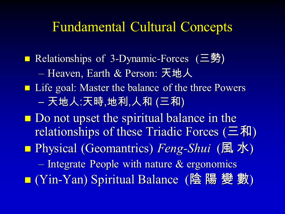 Fundamental Cultural Concepts Relationships of 3-Dynamic-Forces (三勢) –H–H–H–Heaven, Earth & Person: 天地人 Life goal: Master the balance of the three Powers –天–天–天–天地人:天時,地利,人和 (三和) Do not upset the spiritual balance in the relationships of these Triadic Forces (三和) Physical (Geomantrics) Feng-Shui (風 水) –I–I–I–Integrate People with nature & ergonomics (Yin-Yan) Spiritual Balance (陰 陽 變 數)
