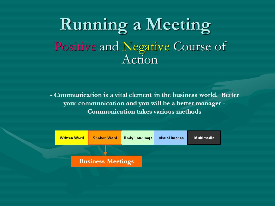 Running a Meeting Positive and Negative Course of Action - Communication is a vital element in the business world.