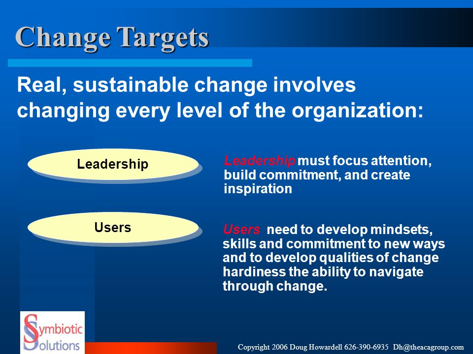 Copyright 2006 Doug Howardell 626-390-6935 Dh@theacagroup.com Strategy Strategy for Leadership The change leadership strategy focuses on establishing joint ownership by line management and the project team for the successful implementation of project Key Themes Leaders equipped to face the same issues together Joint ownership and accountability Focus on the most valuable asset, our employees/ users