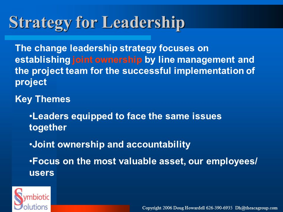 Copyright 2006 Doug Howardell 626-390-6935 Dh@theacagroup.com Tools for Leadership Organize to involve Process Reviews Stakeholder Analysis