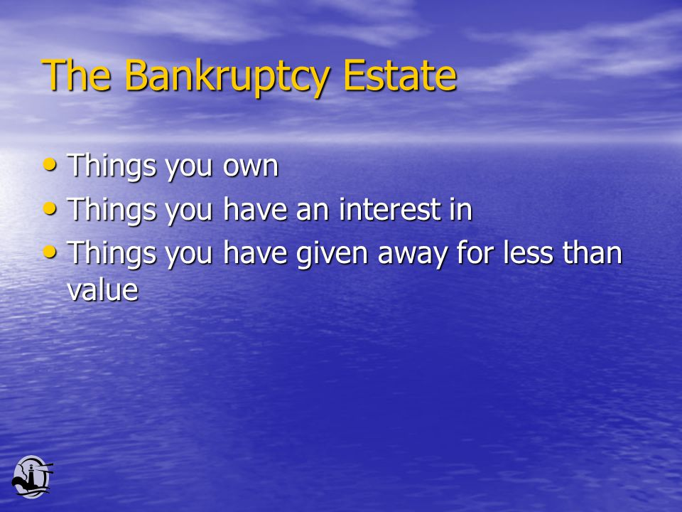 The Bankruptcy Estate Things you own Things you own Things you have an interest in Things you have an interest in Things you have given away for less than value Things you have given away for less than value