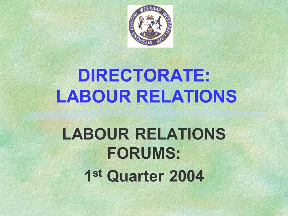 DIRECTORATE: LABOUR RELATIONS LABOUR RELATIONS FORUMS: 1 st Quarter 2004