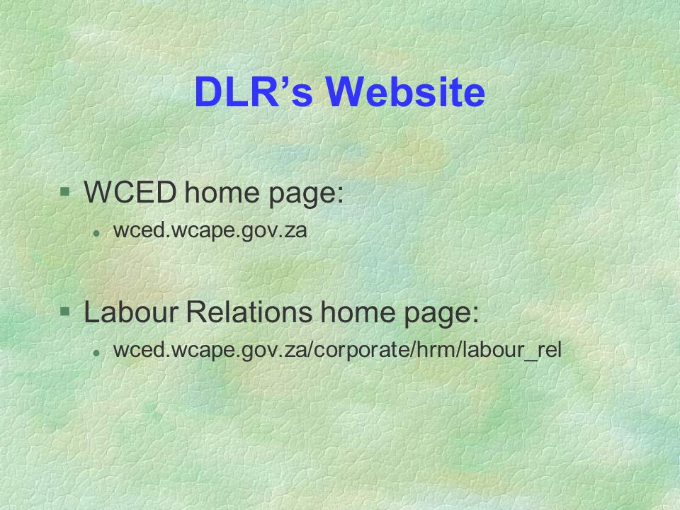 DLR's Website §WCED home page: l wced.wcape.gov.za §Labour Relations home page: l wced.wcape.gov.za/corporate/hrm/labour_rel