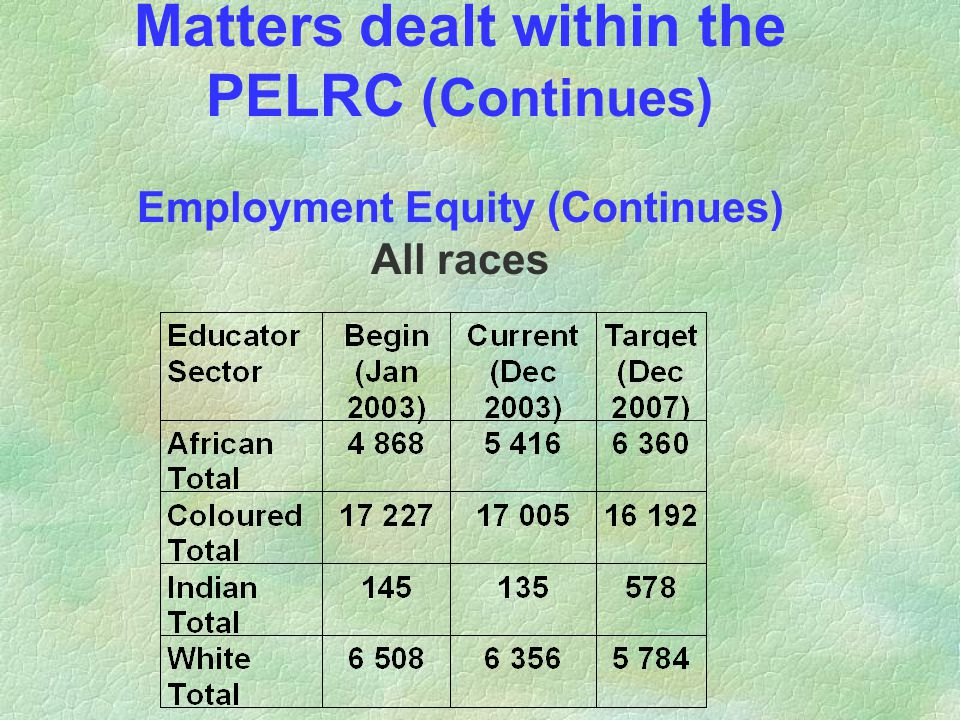 Matters dealt within the PELRC (Continues) Employment Equity (Continues) All races