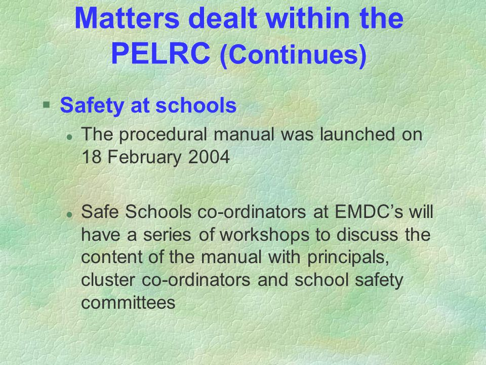 Matters dealt within the PELRC (Continues) §Safety at schools l The procedural manual was launched on 18 February 2004 l Safe Schools co-ordinators at EMDC's will have a series of workshops to discuss the content of the manual with principals, cluster co-ordinators and school safety committees