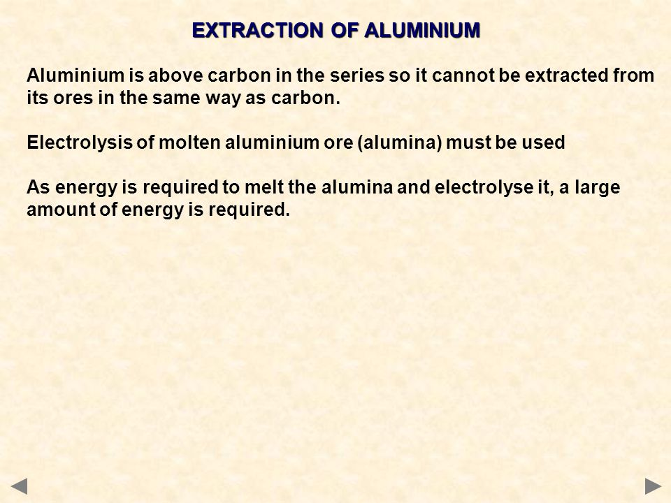 EXTRACTION OF ALUMINIUM Aluminium is above carbon in the series so it cannot be extracted from its ores in the same way as carbon. Electrolysis of mol