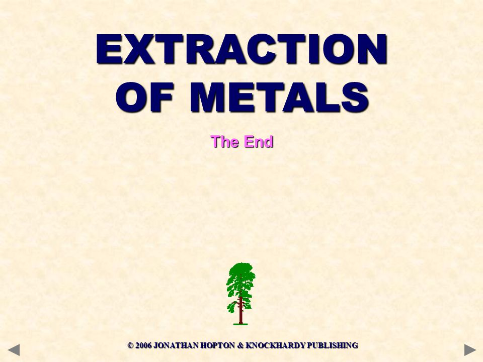 © 2006 JONATHAN HOPTON & KNOCKHARDY PUBLISHING EXTRACTION OF METALS The End
