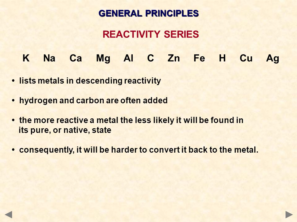 GENERAL PRINCIPLES REACTIVITY SERIES K Na Ca Mg Al C Zn Fe H Cu Ag lists metals in descending reactivity hydrogen and carbon are often added the more