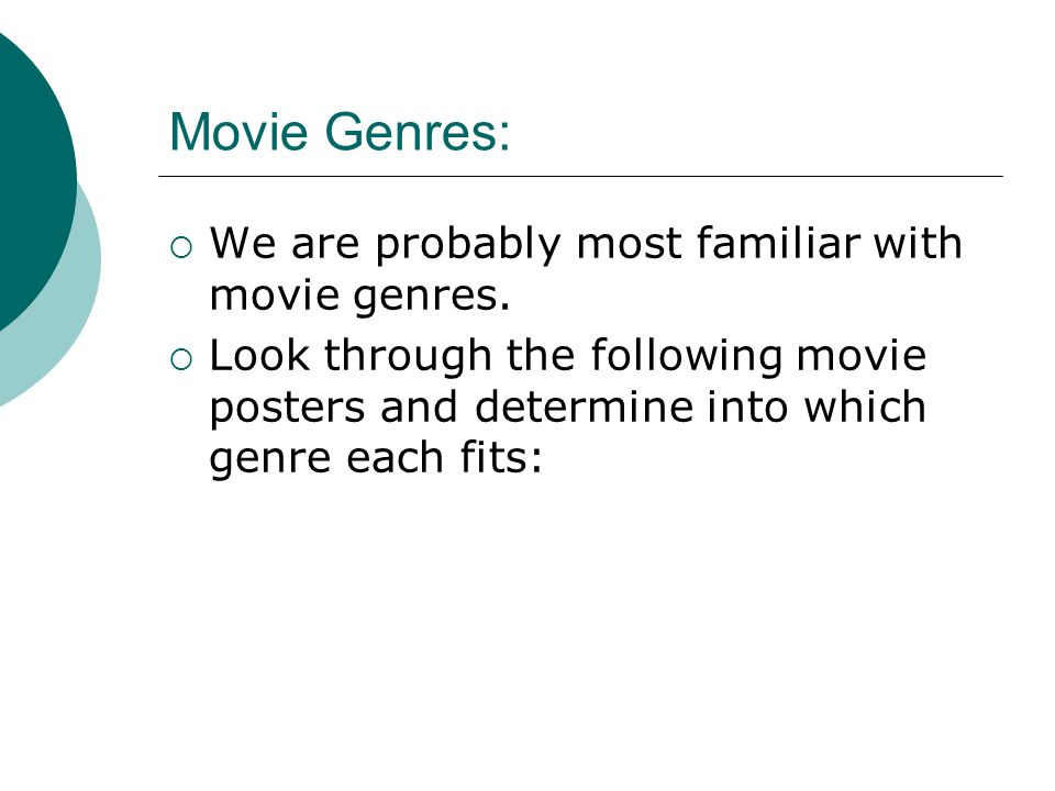 Genres vs Themes:  Learners commonly mistake genres for themes.