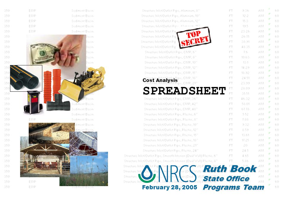 Cost Analysis SPREADSHEET Ruth Book State Office Programs Team February 28, 2005