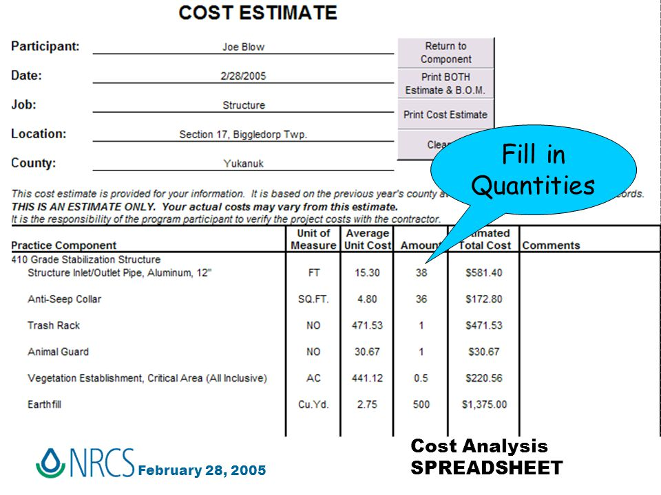 February 28, 2005 Cost Analysis SPREADSHEET Fill in Quantities