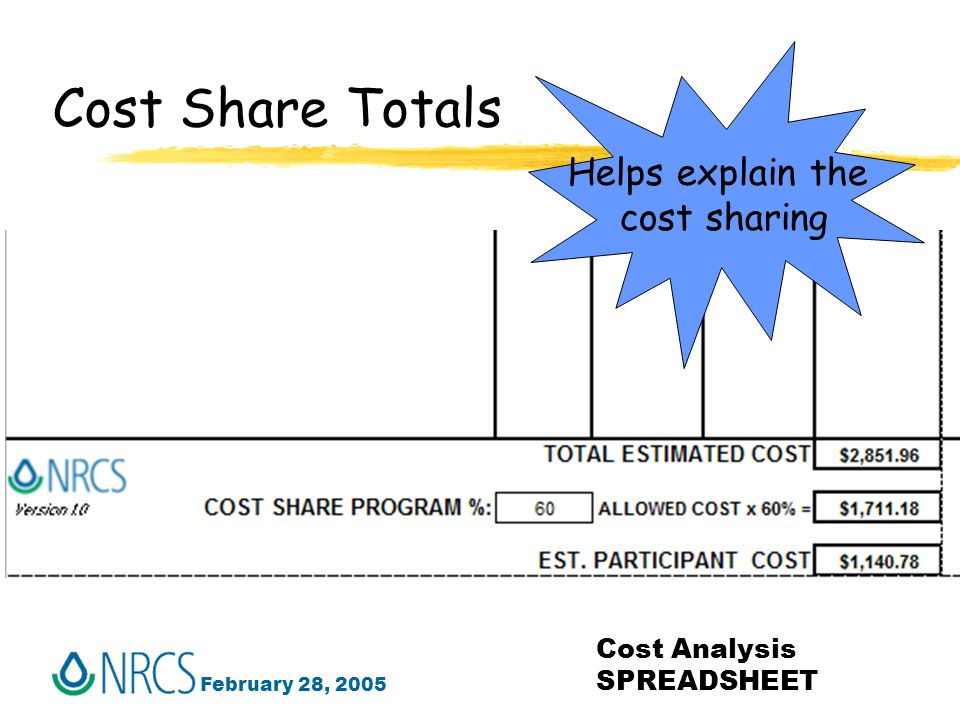 February 28, 2005 Cost Analysis SPREADSHEET Cost Share Totals Helps explain the cost sharing