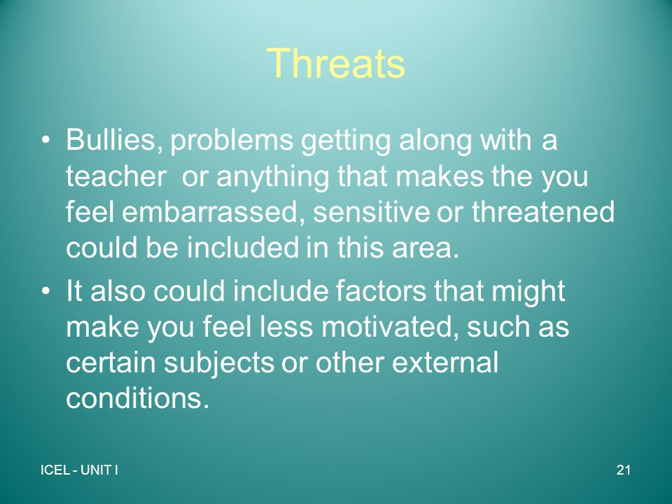 Threats Bullies, problems getting along with a teacher or anything that makes the you feel embarrassed, sensitive or threatened could be included in this area.
