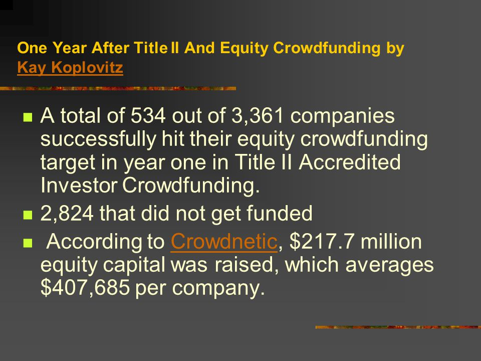 One Year After Title II And Equity Crowdfunding by Kay Koplovitz Kay Koplovitz A total of 534 out of 3,361 companies successfully hit their equity crowdfunding target in year one in Title II Accredited Investor Crowdfunding.