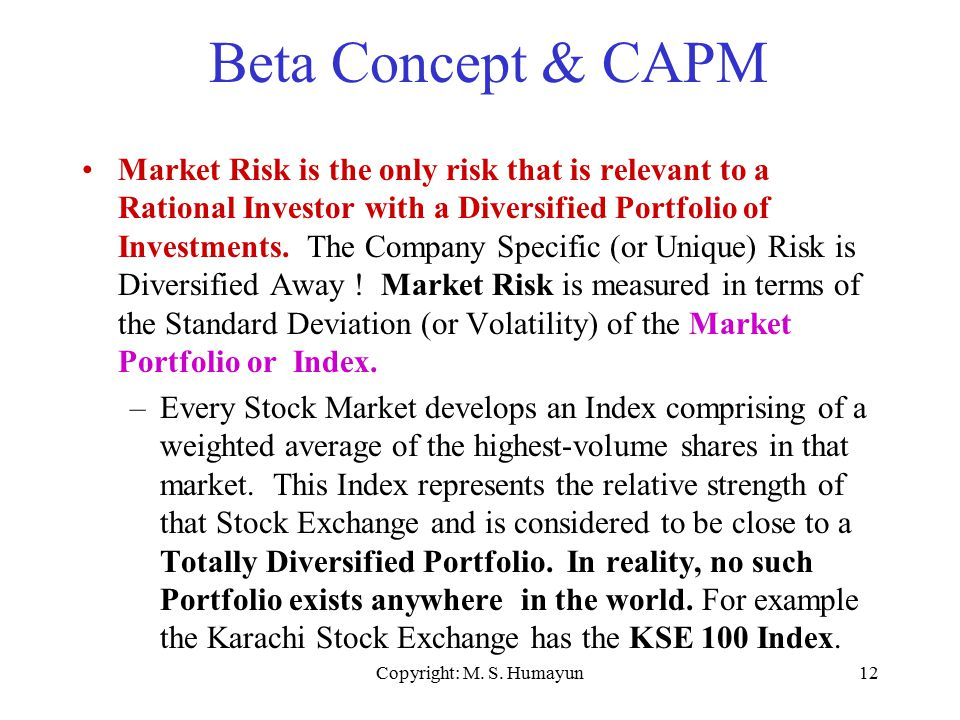 Copyright: M. S. Humayun12 Beta Concept & CAPM Market Risk is the only risk that is relevant to a Rational Investor with a Diversified Portfolio of In