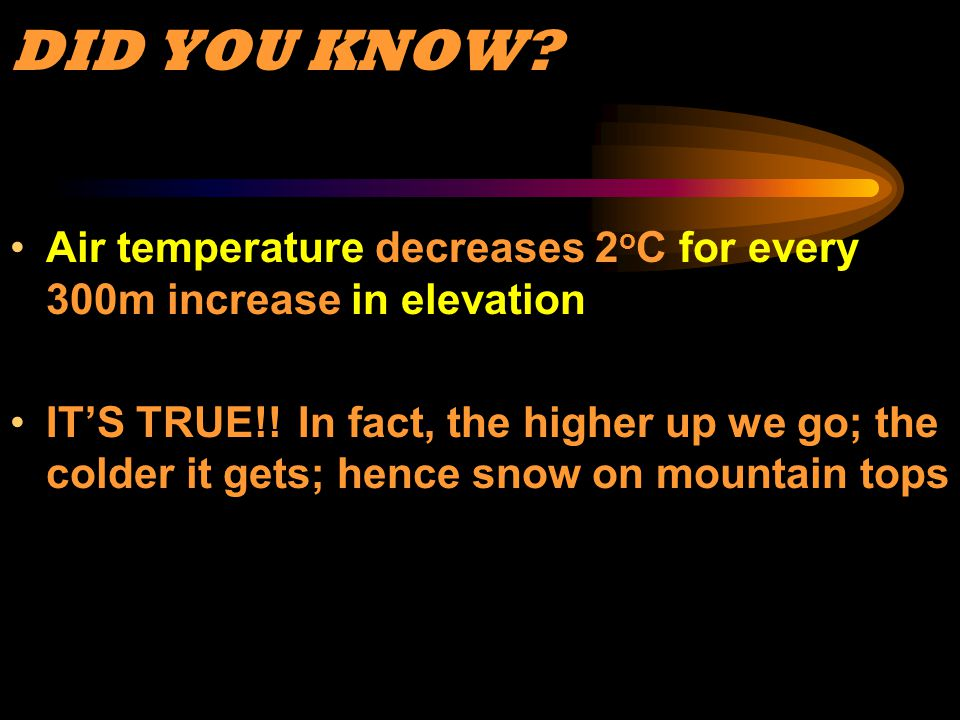 DID YOU KNOW? Air temperature decreases 2 o C for every 300m increase in elevation IT'S TRUE!! In fact, the higher up we go; the colder it gets; hence