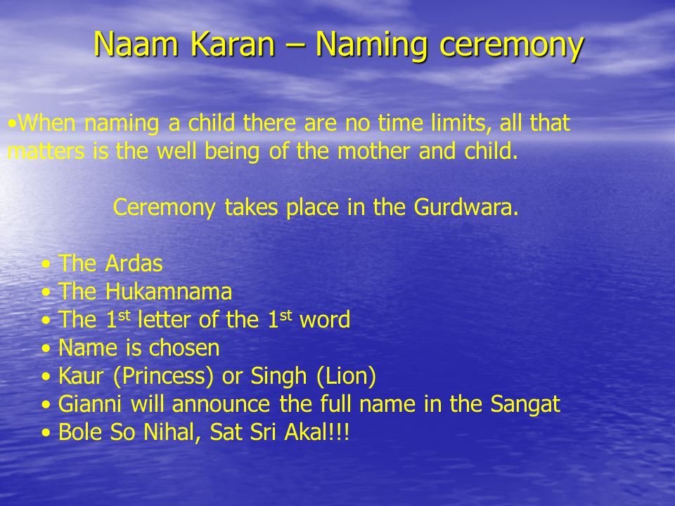In this ceremony, we thank Waheguru ji for the gift of a child.