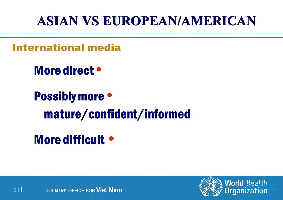 21 | COUNTRY OFFICE FOR Viet Nam More direct Possibly more mature/confident/informed More difficult International media ASIAN VS EUROPEAN/AMERICAN