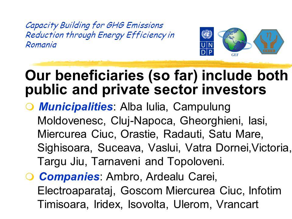 Capacity Building for GHG Emissions Reduction through Energy Efficiency in Romania Our beneficiaries (so far) include both public and private sector investors m Municipalities: Alba Iulia, Campulung Moldovenesc, Cluj-Napoca, Gheorghieni, Iasi, Miercurea Ciuc, Orastie, Radauti, Satu Mare, Sighisoara, Suceava, Vaslui, Vatra Dornei,Victoria, Targu Jiu, Tarnaveni and Topoloveni.