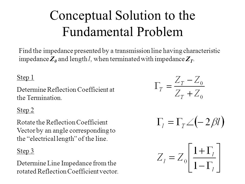 Conceptual Solution to the Fundamental Problem Find the impedance presented by a transmission line having characteristic impedance Z 0 and length l, w