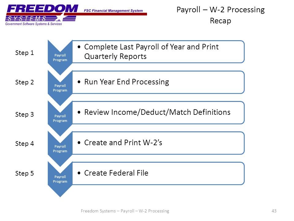 Payroll – W-2 Processing Recap 43 Payroll Program Complete Last Payroll of Year and Print Quarterly Reports Payroll Program Run Year End Processing Payroll Program Review Income/Deduct/Match Definitions Payroll Program Create and Print W-2's Payroll Program Create Federal File Step 1 Step 2 Step 3 Step 4 Step 5 Freedom Systems – Payroll – W-2 Processing