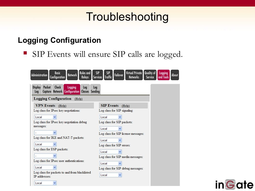 Logging Configuration  SIP Events will ensure SIP calls are logged.