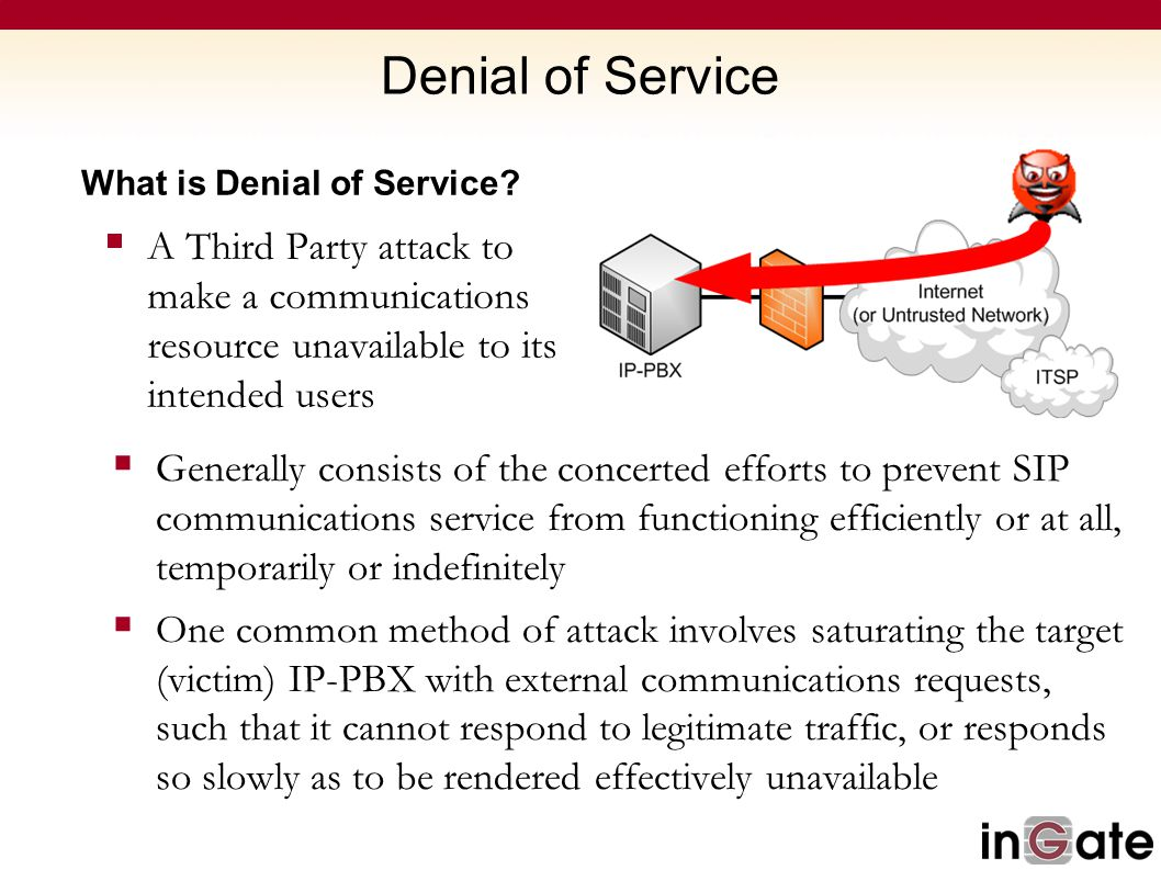 Denial of Service What is Denial of Service?  A Third Party attack to make a communications resource unavailable to its intended users  Generally co