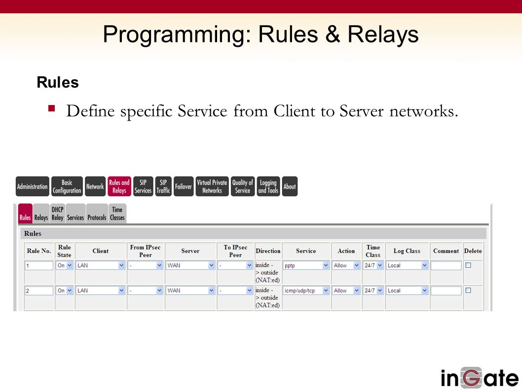 Programming: Rules & Relays Rules  Define specific Service from Client to Server networks.