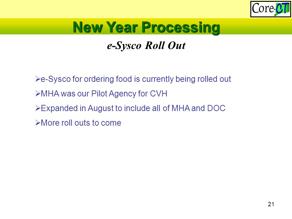 21 e-Sysco Roll Out New Year Processing  e-Sysco for ordering food is currently being rolled out  MHA was our Pilot Agency for CVH  Expanded in August to include all of MHA and DOC  More roll outs to come