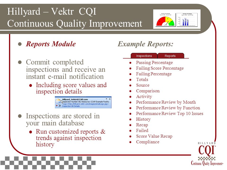 Hillyard – Vektr CQI Continuous Quality Improvement Reports Module Commit completed inspections and receive an instant e-mail notification Including score values and inspection details Inspections are stored in your main database Run customized reports & trends against inspection history Example Reports: Score Percentage Passing Percentage Failing Score Percentage Failing Percentage Totals Source Comparison Activity Performance Review by Month Performance Review by Function Performance Review Top 10 Issues History Recap Failed Score Value Recap Compliance