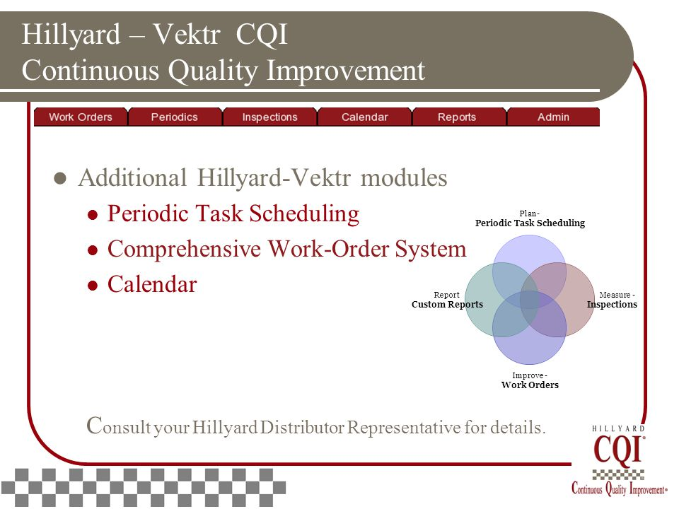 Hillyard – Vektr CQI Continuous Quality Improvement Additional Hillyard-Vektr modules Periodic Task Scheduling Comprehensive Work-Order System Calendar C onsult your Hillyard Distributor Representative for details.