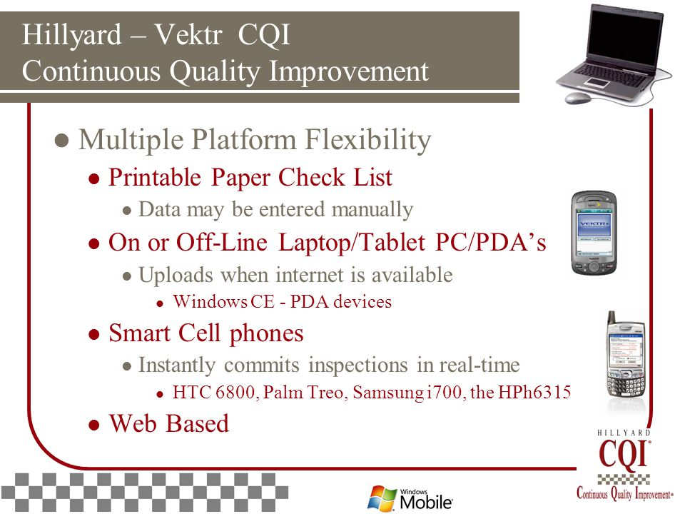 Hillyard – Vektr CQI Continuous Quality Improvement Multiple Platform Flexibility Printable Paper Check List Data may be entered manually On or Off-Line Laptop/Tablet PC/PDA's Uploads when internet is available Windows CE - PDA devices Smart Cell phones Instantly commits inspections in real-time HTC 6800, Palm Treo, Samsung i700, the HPh6315 Web Based